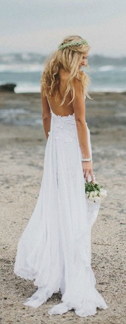 Bohemian Low-Back Wedding Dress. Perfect for a beach wedding!
