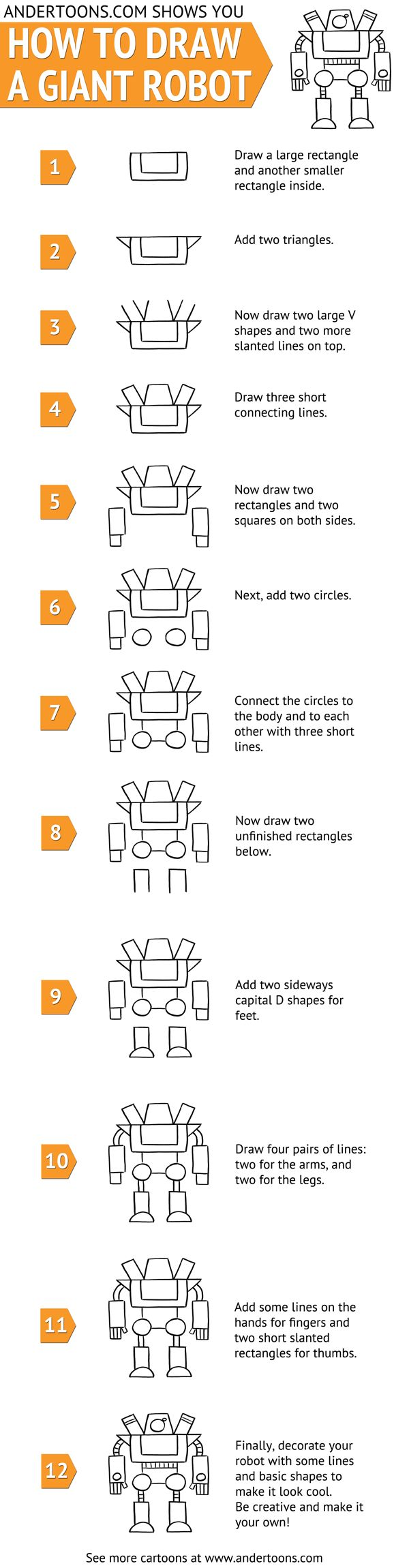 How to draw giant cartoon robot