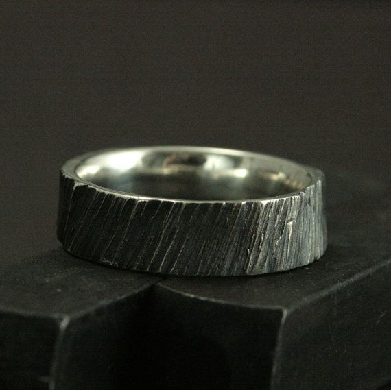 Hand Carved Bark Ring--Sterling Silver Tree Bark Ring--Chunky Branch Ring--Men's Silver Wedding Band-Rustic Wedding Band-Hand Carved to Size