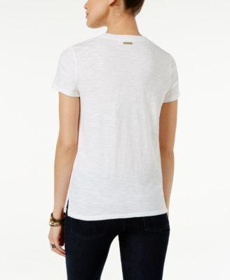Michael Michael Kors Eyelet-Yoke T-Shirt - Blue S