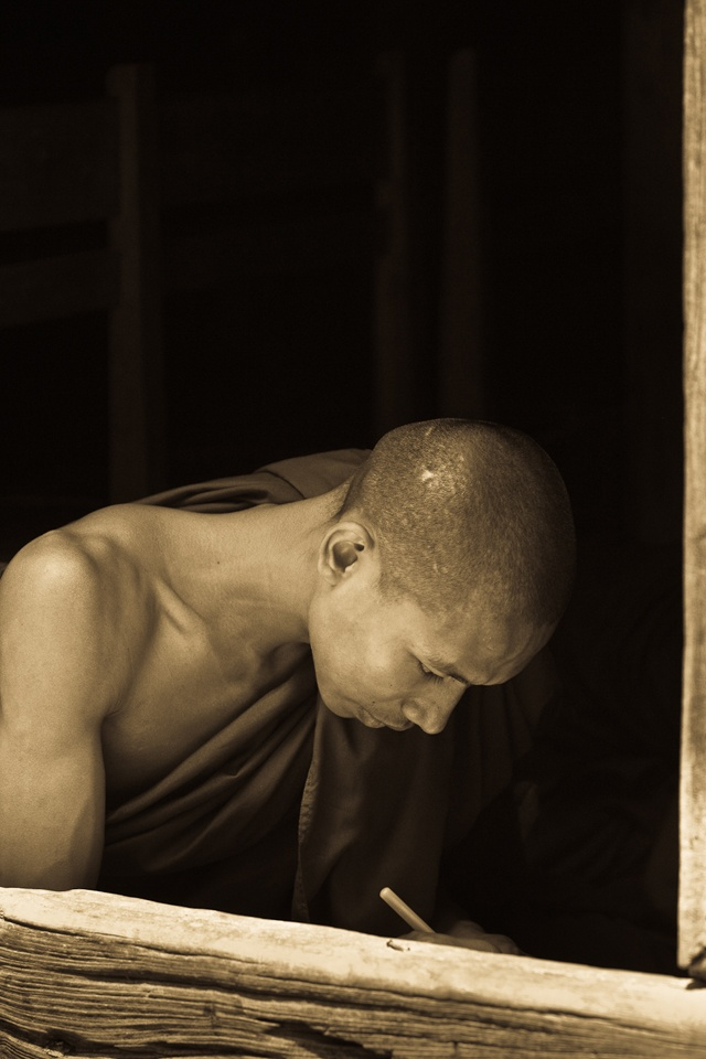 Monks studying at Temple School