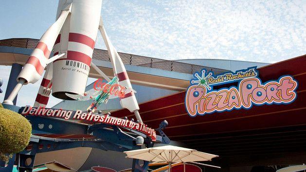 Redd Rockett's Pizza Port sign in Tomorrowland at Disneyland Park
