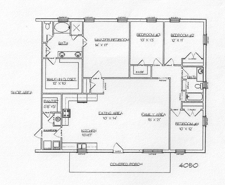 Metal Home Plans   Metal Building House Plans Steel building house plans, Kitchen, Living Room and dining area...