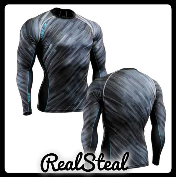 Skin Compression Shirts Weight Lifting Base Layer STEEL