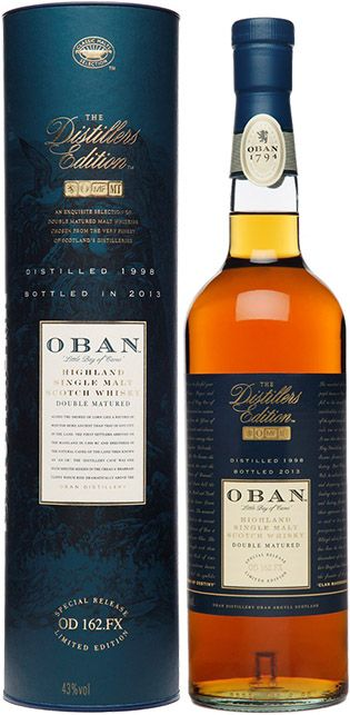 Oban Distillers Edition Single Malt Scotch Whisky   Distilled in 1998 and bottled in 2013, this limited edition single malt is aged for 14...