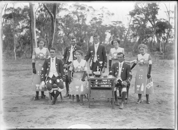 154266PD: Ruination set, a group dressed to represent the dangers of alcohol and gambling, Wyalkatchem, 1910-1915. https://encore.slwa.wa.gov.au/iii/encore/record/C__Rb5127709