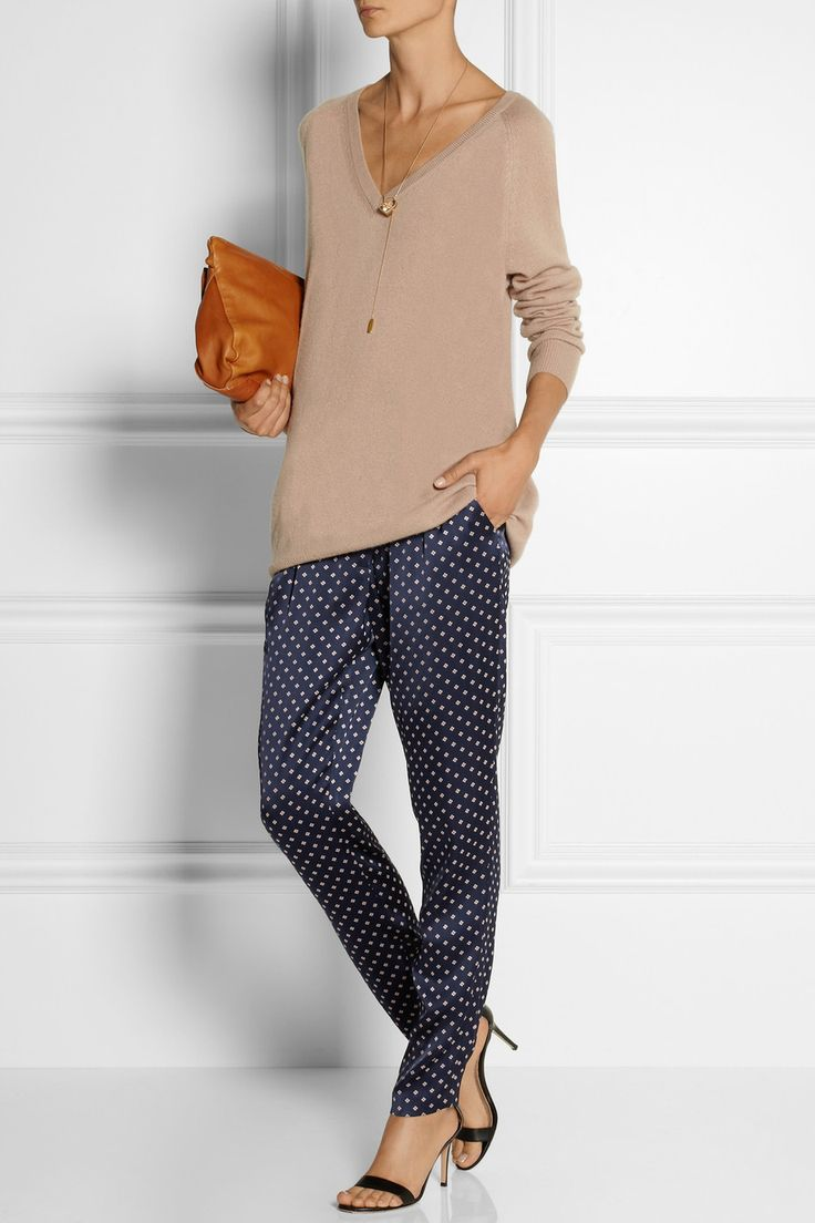 Thakoon satin-jacquard tapered pants and to-die-for nude top.