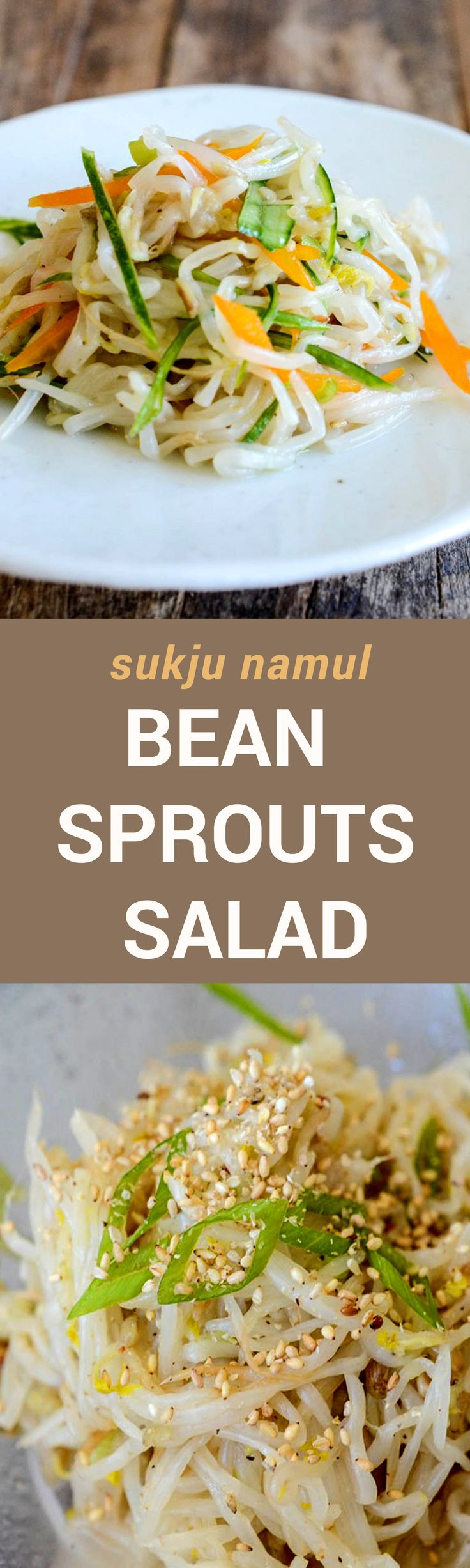 If you have searched for recipes for Korean Sukju Namul online, you probably noticed that many have garlic in it. But my recipe omits garlic. I love the pure simple taste of cooked mung bean sprouts, seasoned lightly with salt and enhanced just a little bit with a touch of sesame oil and green onions. I asked some of my sisters and they agreed that this is the best way to eat it.