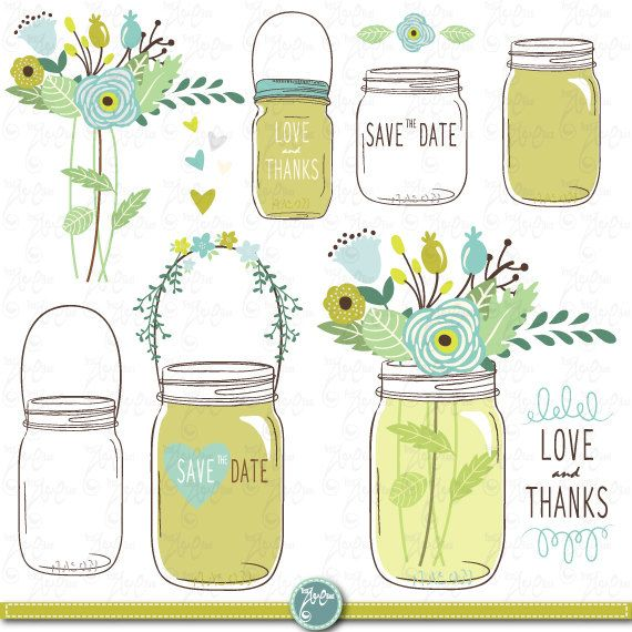 "Hand Draw Mason jars Clipart: ""WEDDING MASON JARS"" clip art Mason Jars,Wedding invitation,save the date, Clip art for scrapbooking Wd034"