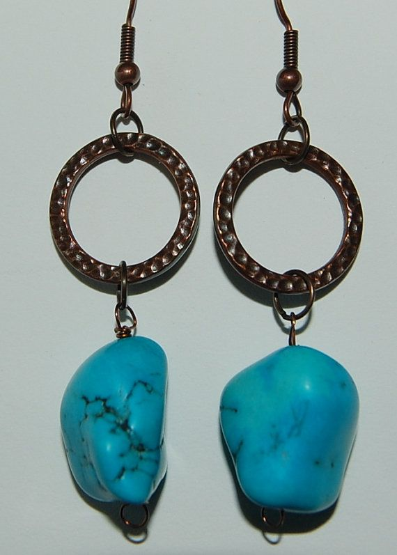 50 percent off store closing sale now.... Turquoise nugget drop copper earrings by silverwireandgems on Etsy