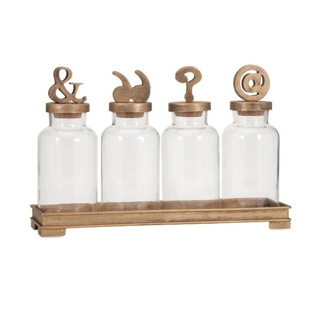 Beth Kushnick Symbol Bottles With Stoppers And Tray   Premier Home Decor