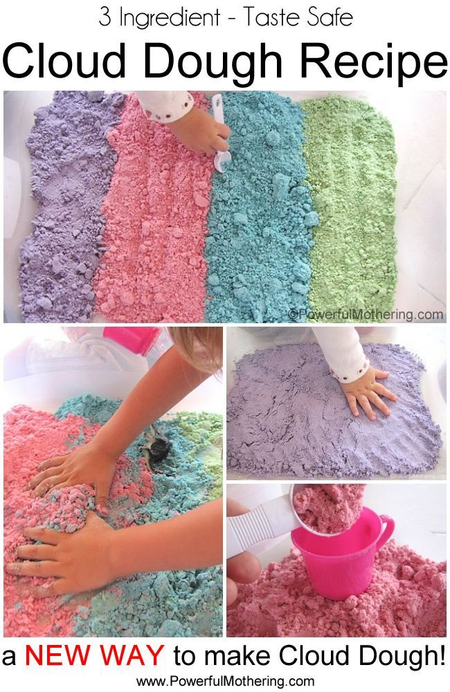 Learn how to make a colorful cloud dough recipe that is taste safe to enjoy with your toddler. With only 3 ingredients our cloud dough recipe is just what you are looking for! Great for sensory play!