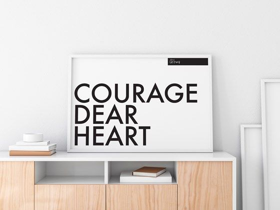 Courage Dear Heart - CS Lewis Printable Art. Monochrome, Mimilast Instant Download Wall Art from Grace Gradient at www.printablez.ca