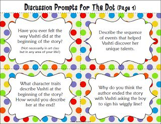 Free Discussion Prompts to use with the book The Dot. Use with the book when celebrating International Dot Day (September 15th)
