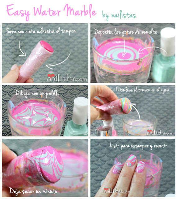 This less messy water marbling technique involves stamping with a ...