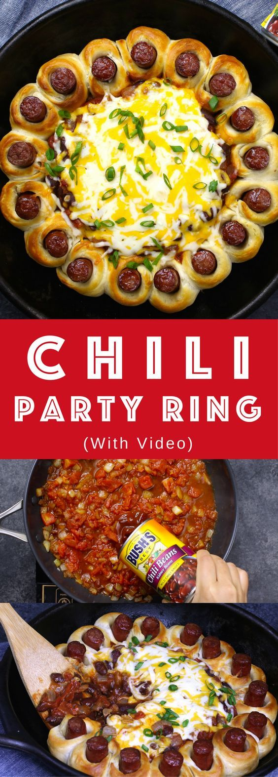Chili Party Ring – the most delicious appetizer to share at your next party. Easy to make in only 30 minutes with a few simple ingredients: Biscuit dough, your favorite hot dogs, onions, chili powder, cumin, Hunt's Tomatoes, BUSH's slow-simmered chili beans, shredded cheese and green onions. So good. Video recipe.AD
