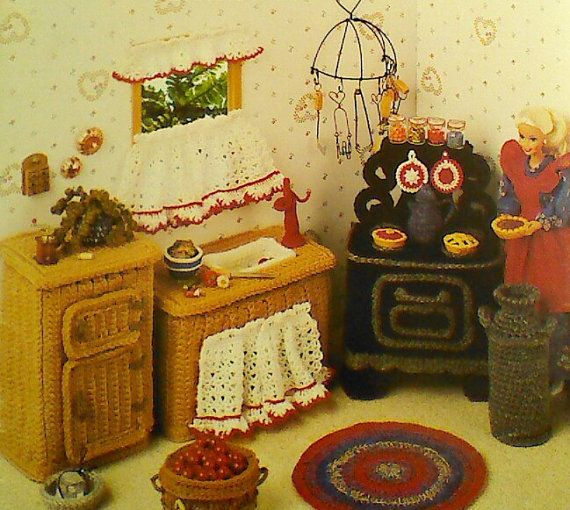 Vintage Crocheted Barbie Country Kitchen Pattern by MAMASPATTERNS, $3.50