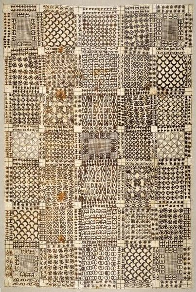 Africa | Asante Wrapper. Ghana | mid to late 19th century | Imported cotton cloth and black pigment | Historically Asante royalty wore adinkra, large wrappers with stamped patterns, only during periods of mourning. Though still worn in times of grief, adinkra cloths recently have become increasingly fashionable at social festivities and nonfunerary functions.