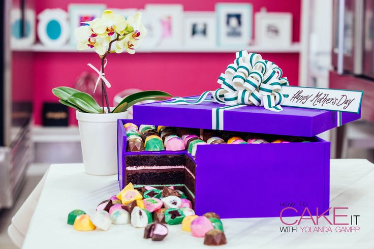 A Chocolate Cake Mother's Day Chocolate Box filled with Colourful Chocolate Jems:  Yolanda's Recipes and Cakes! – HOW TO CAKE IT