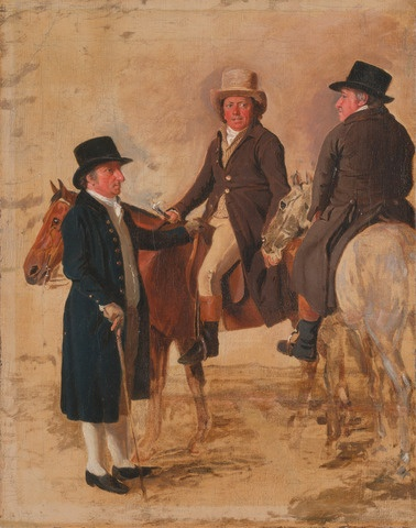 Benjamin Marshall, 1767-1835, British, John Hilton, Judge of the Course at Newmarket; John Fuller, Clerk of the Course; and John Stevens, a Trainer, ca. 1804, Oil on canvas, Yale Center for British Art, Paul Mellon Collection