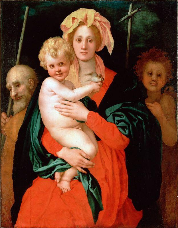 Понтормо, Якопо да - Мадонна с Младенцем и Св. Иосифа и Иоанна Крестителя (1527). высокое разрешение Часть 14