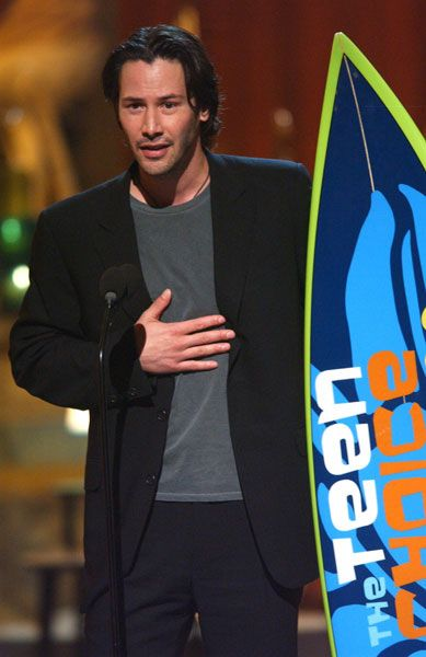 2003 Teen Choice Award & Keanu Reeves get Choice movie actor (drama/action adventure) The Teen Choice Awards is an annual awards show that airs on the Fox Network. The awards honor the year's biggest achievements in music, movies, sports, television, fashion, and more, voted by teen viewers (ages 13 to 19). Winners receive an authentic full size surfboard designed with the graphics of that year's show.