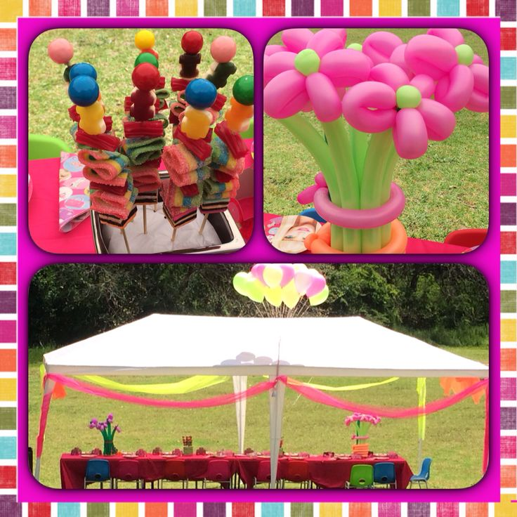 Fun, colourful and gorgeous outdoor birthday party set up.