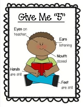 2 Give Me 5 Posters.Give Me 5:-Eyes on teacher-Mouth closed-Ears Listening-Feet Still-Hands Still...