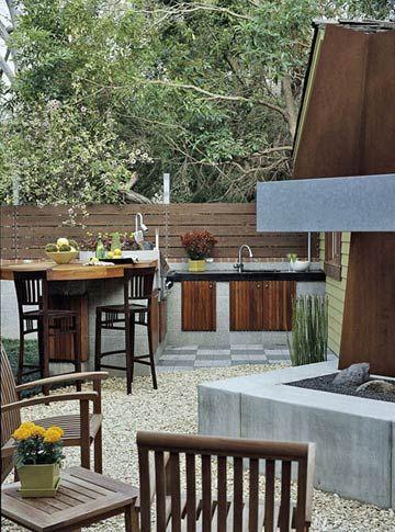 Gravel outdoor kitchen