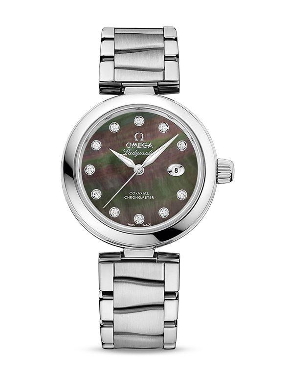 Omega 425.30.34.20.57.004 De Ville Ladies Ladymatic Co-Axial 34 mm - швейцарские женские наручные часы - белые часы