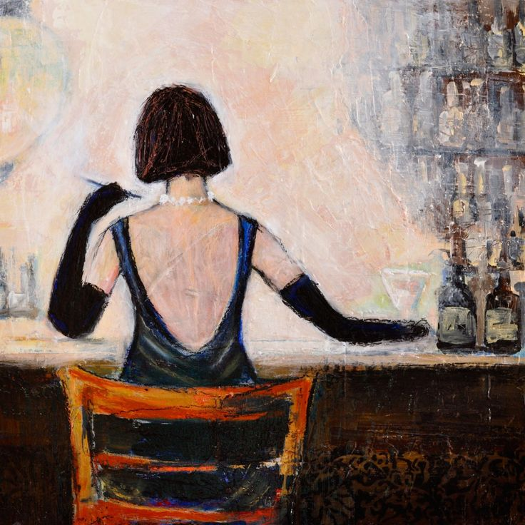 Bar Scene Woman Painting Print on Wrapped Canvas