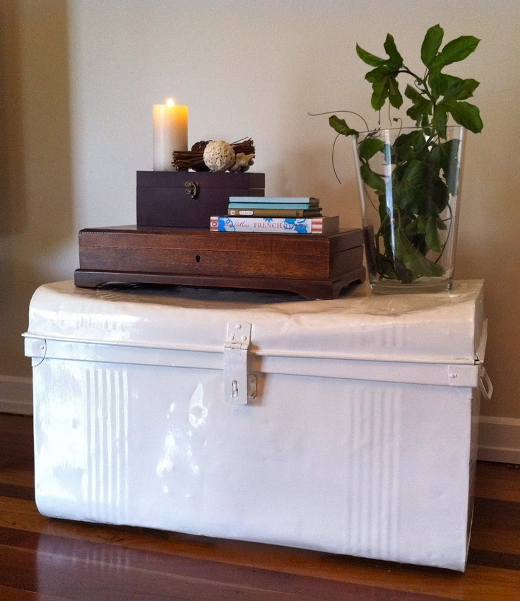 This looks similar to my new trunk...I like the white...that's a maybe colour. Mine has much nicer texture and a much nicer hinge.