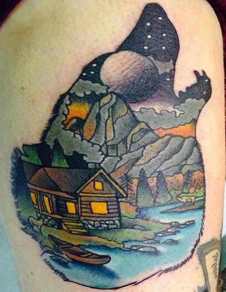 log cabin scenery tattoo by gary dunn tatuagens pinterest scenery tattoo tattoo and cabin. Black Bedroom Furniture Sets. Home Design Ideas