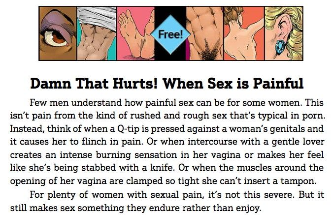 Guide To Getting It On: When Sex is Painful (PDF) https://www.guide2getting.com/wp-content/uploads/2015/11/Damn-that-Hurts-When-Sex-Is-Painful.pdf (free chapter)