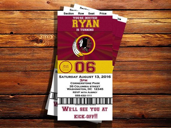 Check out this item in my Etsy shop https://www.etsy.com/listing/466107092/washington-redskins-ticket-birthday