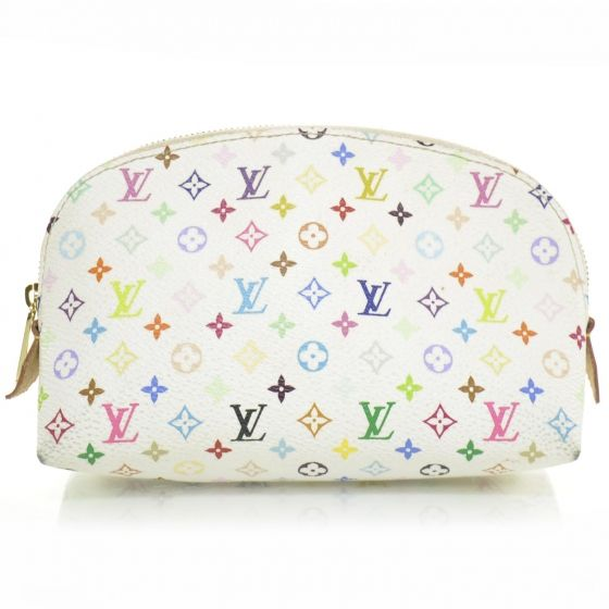 This is an authentic LOUIS VUITTON Multicolor Cosmetic Pouch in White.   This is a chic cosmetics bag with limitless functional value and a smart look.