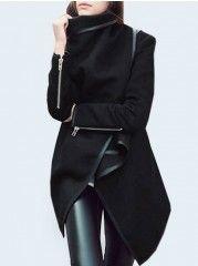 Stylish  With Zips Asymmetrical Hems  Overcoats