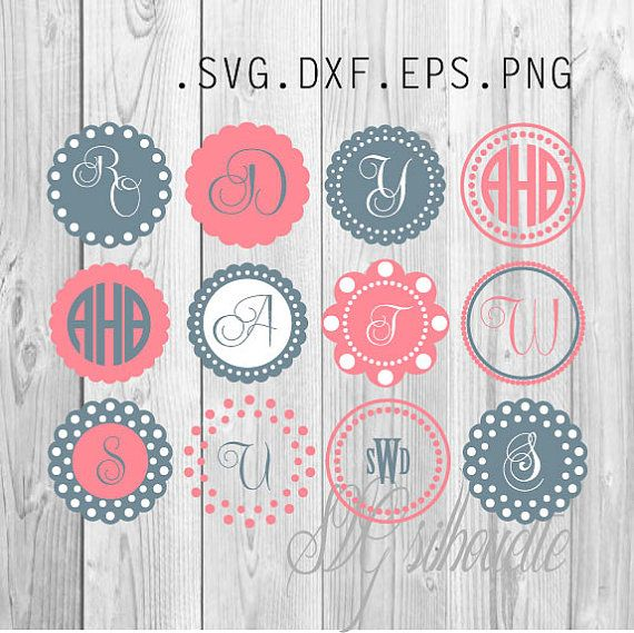 Circle monogram frames SVG cutting file Clipart by SVGsilhouette