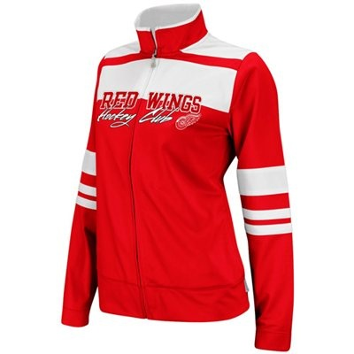 Reebok Detroit Red Wings Ladies Red-White Striped Hockey Club Full Zip Track Jacket   #Fanatics