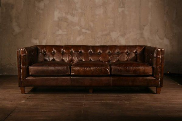 Chesterfield 83 Square Arms Sofa Leather Chesterfield Sofa Leather Sofa Small Leather Chesterfield Sofa