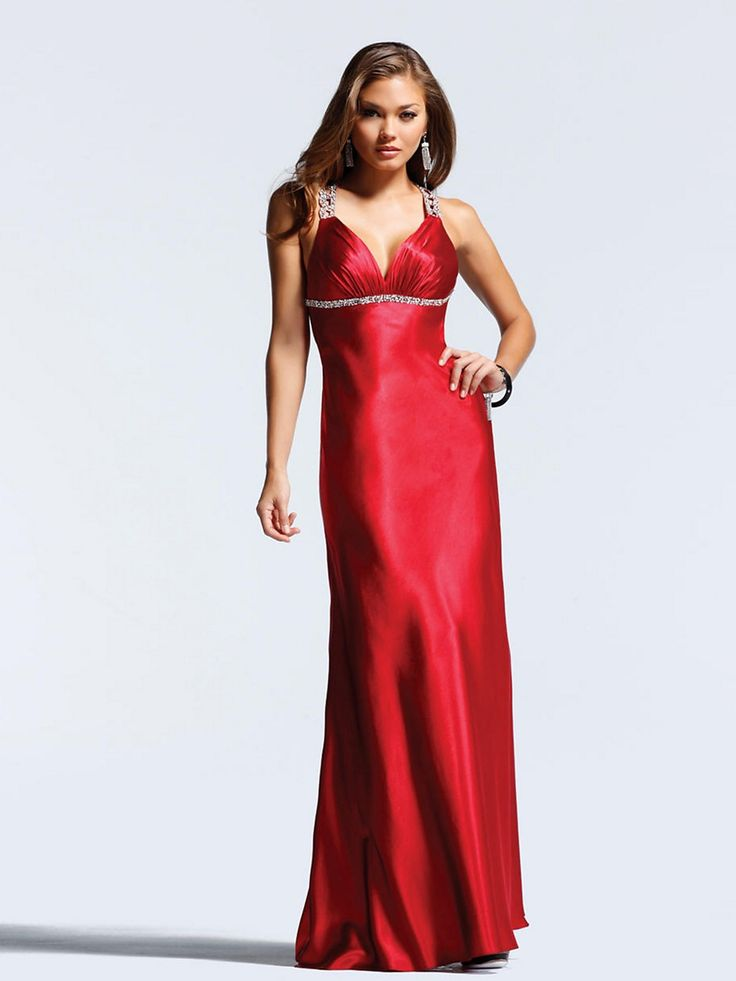 Empire Waistline Hot Red Deep V-neck Floor Length Skirt Evening Dress