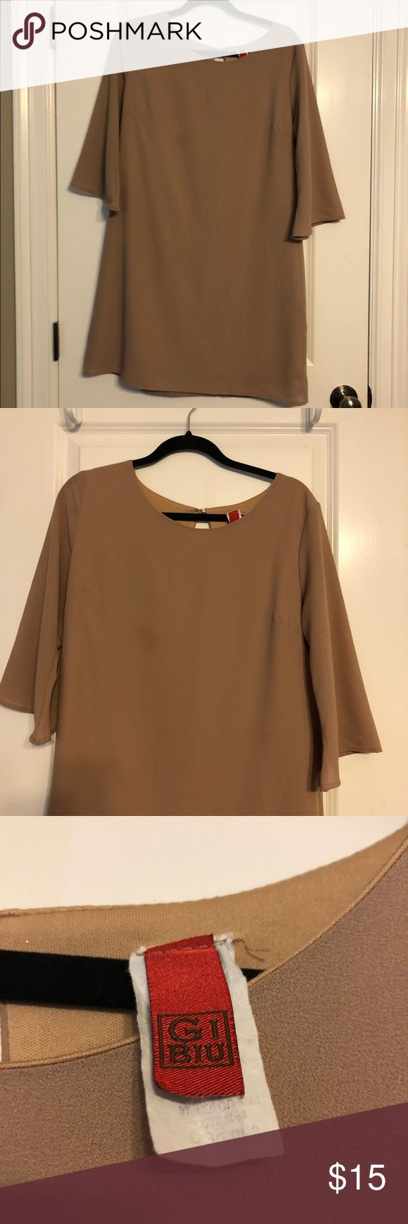 Nude Bell Sleeve Swing Dress Neutral dress, great for a formal or semi-formal event. 3/4 bell sleeves. Button closure back. 100% Polyester. Fully lined. Size L, could also fit M Vintage Dresses Long Sleeve