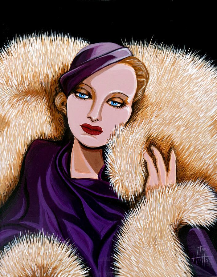 Painting - Colette by Tara Hutton. This painting titled, Colette is an homage to Hollywood's golden age and is not meant to be one specific actress of that era but more of a composite representing many of the stars and starlets of the 1930's. #Colette #ArtDeco #Glamour #Fur #MovieStar #TaraHutton #FineArtAmerica #Pixels.com #AbsoluteArts #Studio1219 #DetroitArtistsMarke #XanaduGallery
