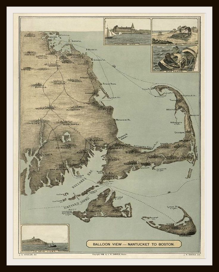 Printed Vintage Boston Cape Cod Map Poster