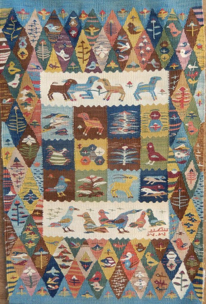 Egyptian cotton tapestry by Ramses Wissa Wassef artist Gehan Rezk. Handwoven in Harrinia, Egypt.   Ramses Wissa Wassef Tapestries