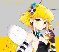 Anime girl, , bee girl, , honey, , blonde hair, , short hair, , wings