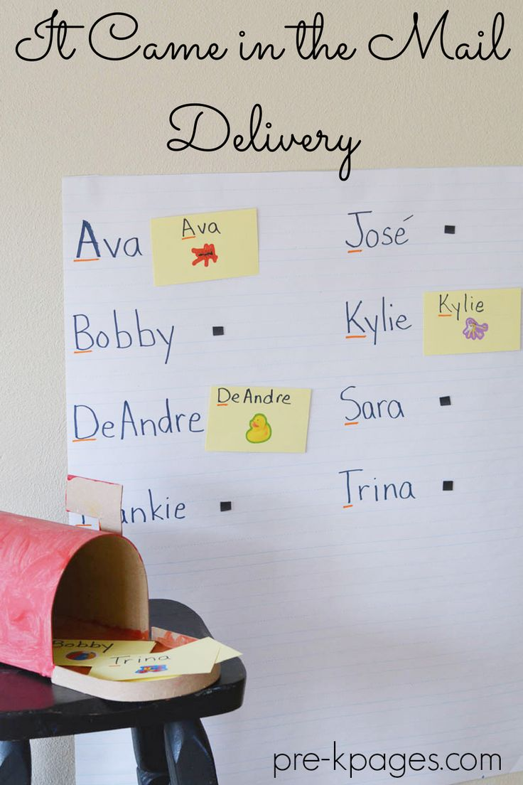 It Came in the Mail Delivery activity for pre-k. Great for a community helper, literacy and/or names activity.