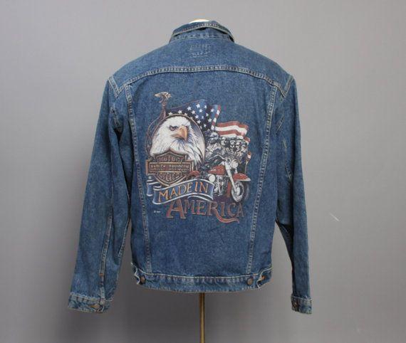80s HARLEY Davidson JEAN JACKET / American Eagle