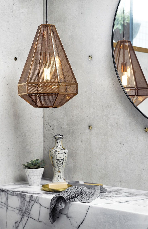 The Beacon Lighting Elliot tall 1 light 460mm geometrical copper pendant with copper mesh and black flex.