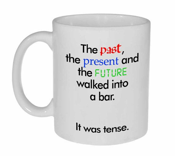 Grammar Funny Coffee or Tea Mug - walked into a bar joke  - Mug holds 11oz / 325ml of your favorite hot or cold beverage. - White exterior and
